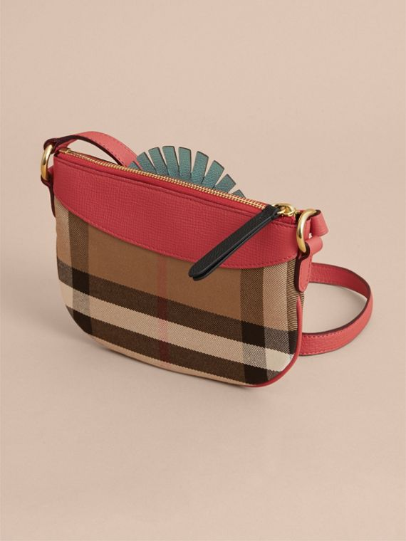 House Check and Leather Crossbody Bag in Cinnamon Red - Girl | Burberry - cell image 2