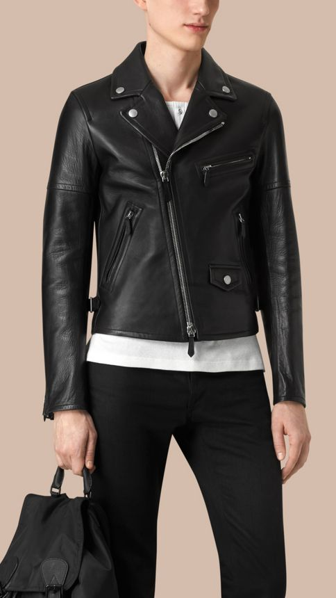 Black Leather Biker Jacket - Image 3