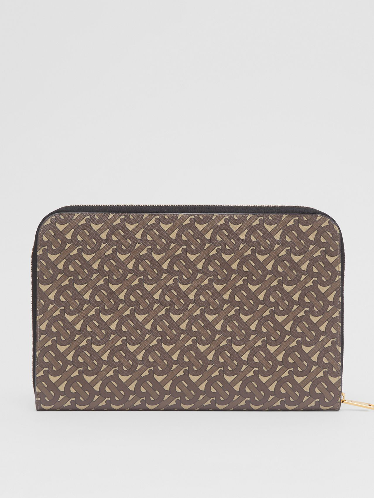 Monogram Print E-canvas and Leather Ziparound Pouch in Bridle Brown