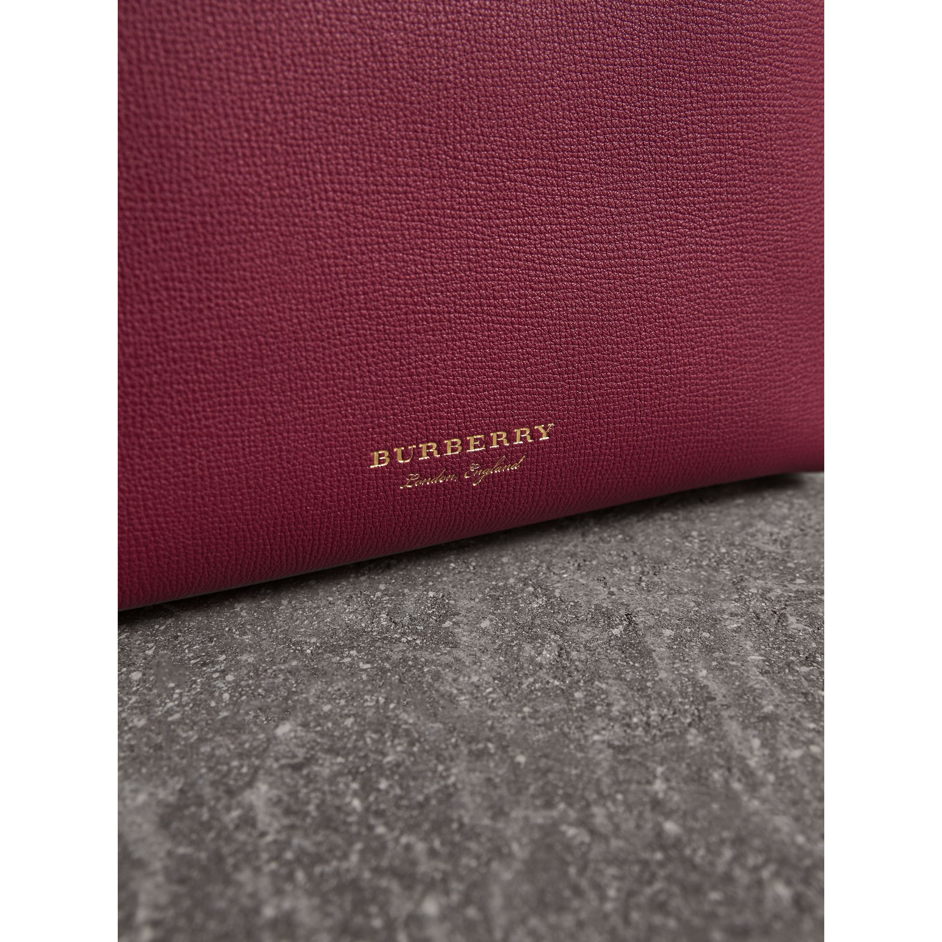 The Small Banner in Two-tone Leather in Berry Pink - Women | Burberry - gallery image 2