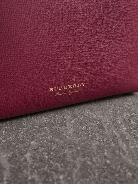 The Small Banner in Two-tone Leather in Berry Pink - Women | Burberry - cell image 1