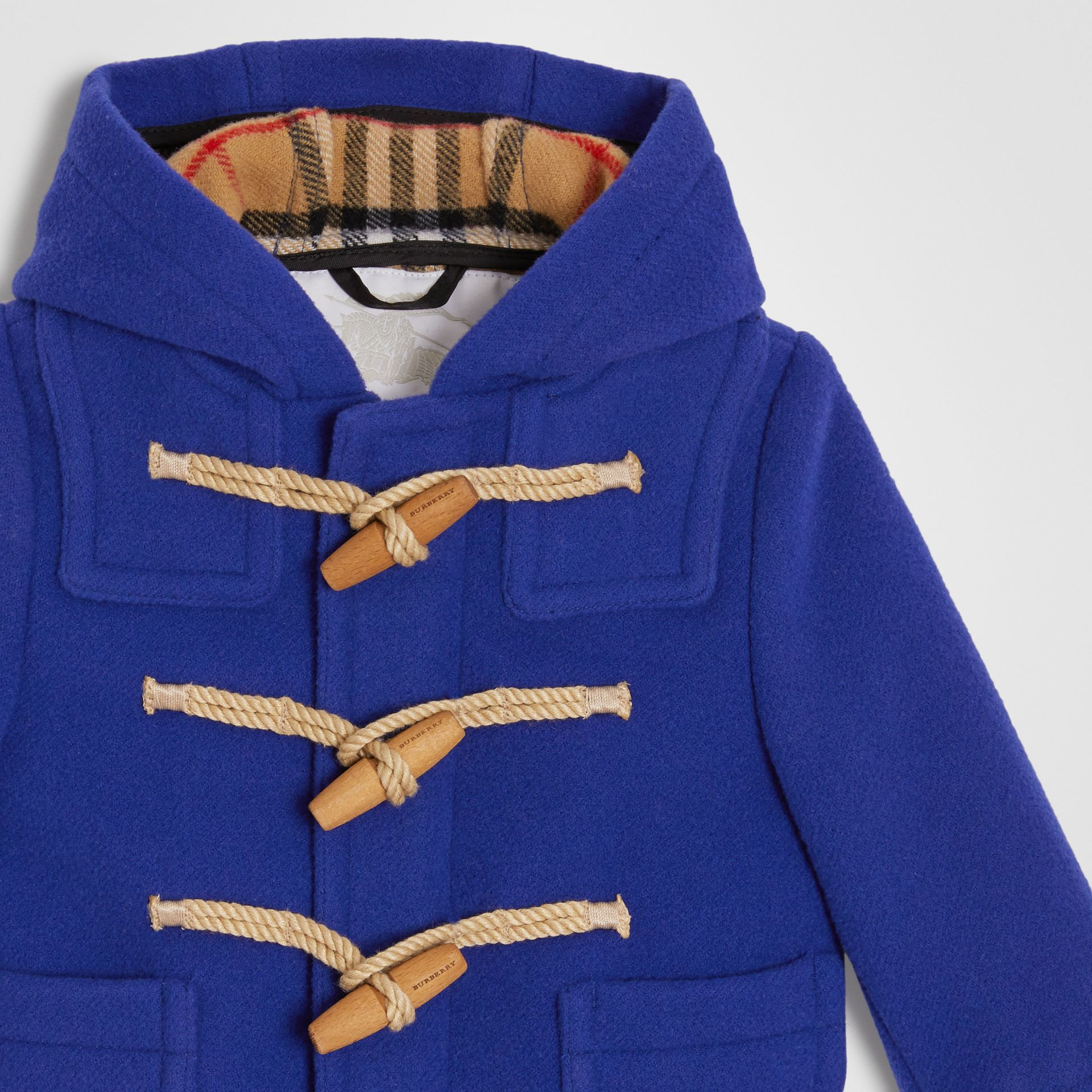 Boiled Wool Duffle Coat in Brilliant Blue - Children | Burberry - gallery image 4