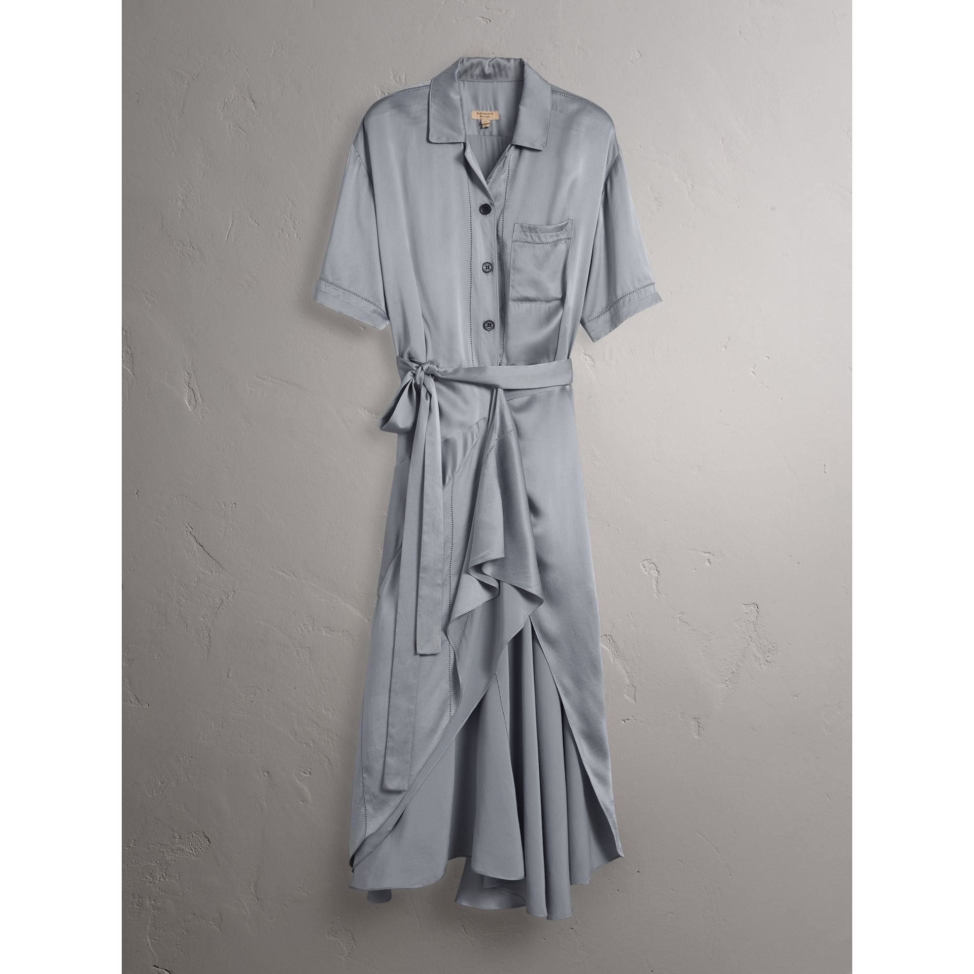 Washed Silk Satin Tie-waist Shirt Dress in Mineral Blue - Women | Burberry - gallery image 4