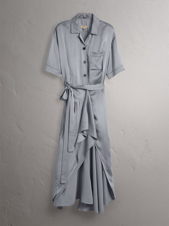 Washed Silk Satin Tie-waist Shirt Dress in Mineral Blue - Women | Burberry - cell image 3