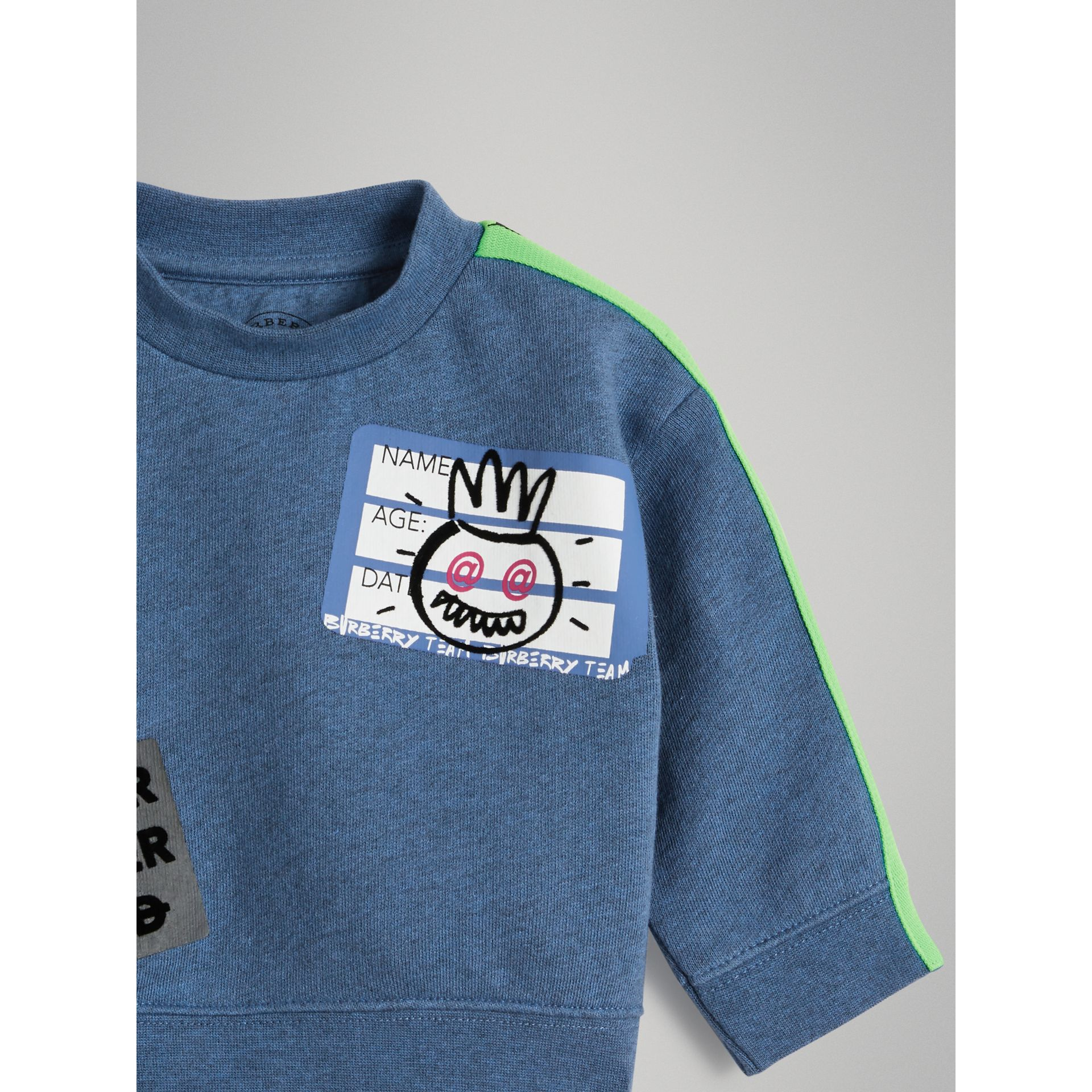Sticker Print Cotton Sweatshirt in Blue Melange - Children | Burberry - gallery image 4