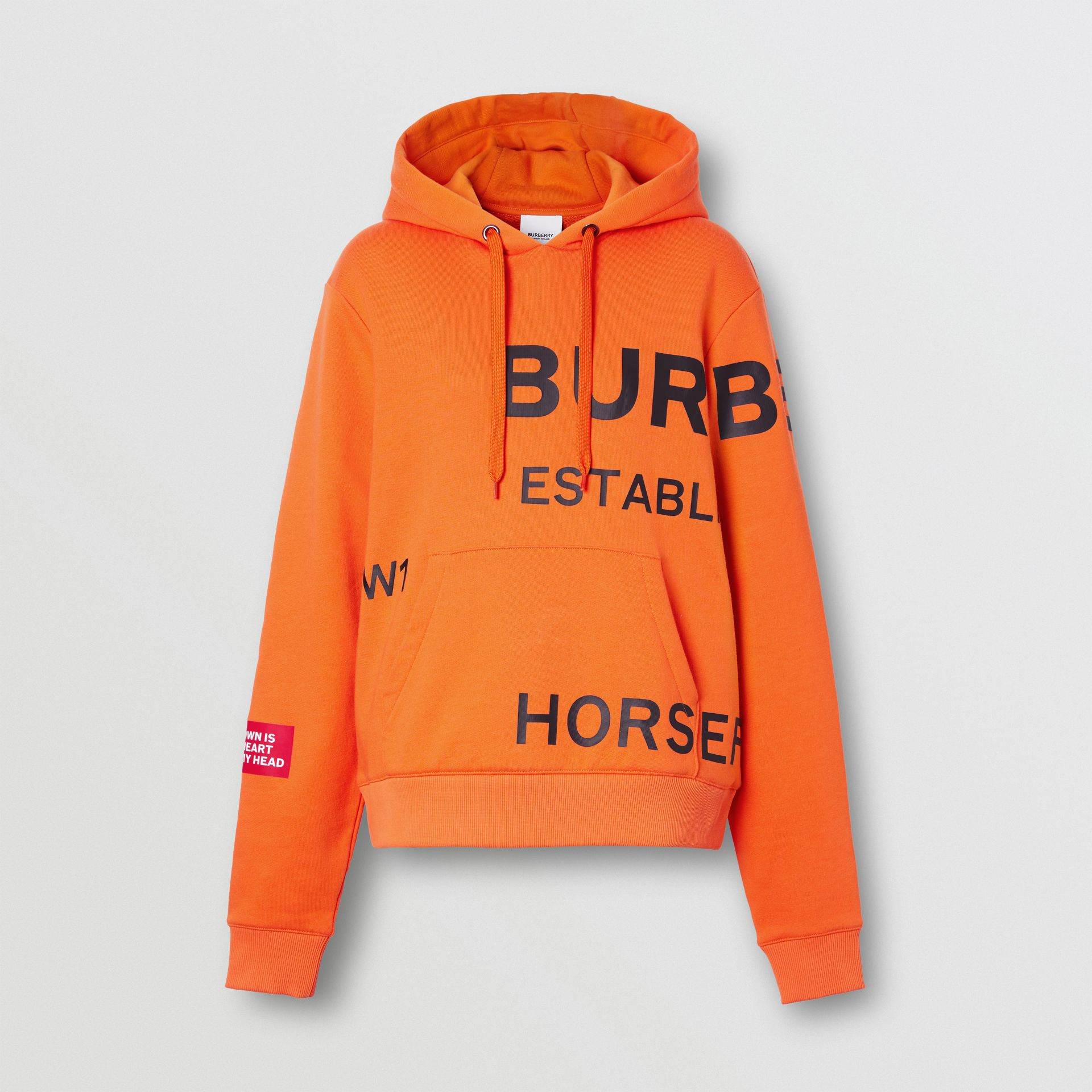 Horseferry Print Cotton Oversized Hoodie in Bright Orange - Women | Burberry - gallery image 3
