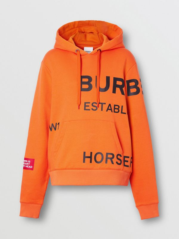 Horseferry Print Cotton Oversized Hoodie in Bright Orange - Women | Burberry - cell image 3