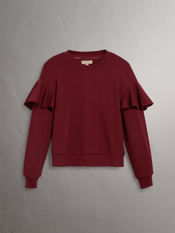 Ruffle Detail Cotton Jersey Sweatshirt in Dark Plum - Women | Burberry - cell image 3