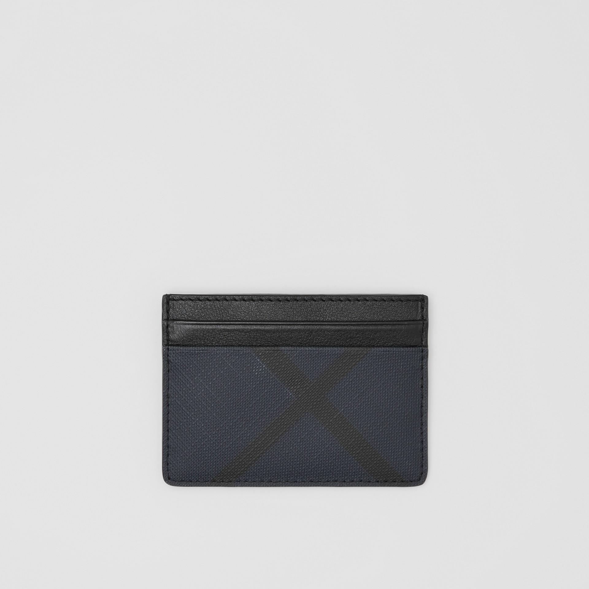Porte-cartes London check et cuir (Marine) - Homme | Burberry - photo de la galerie 0