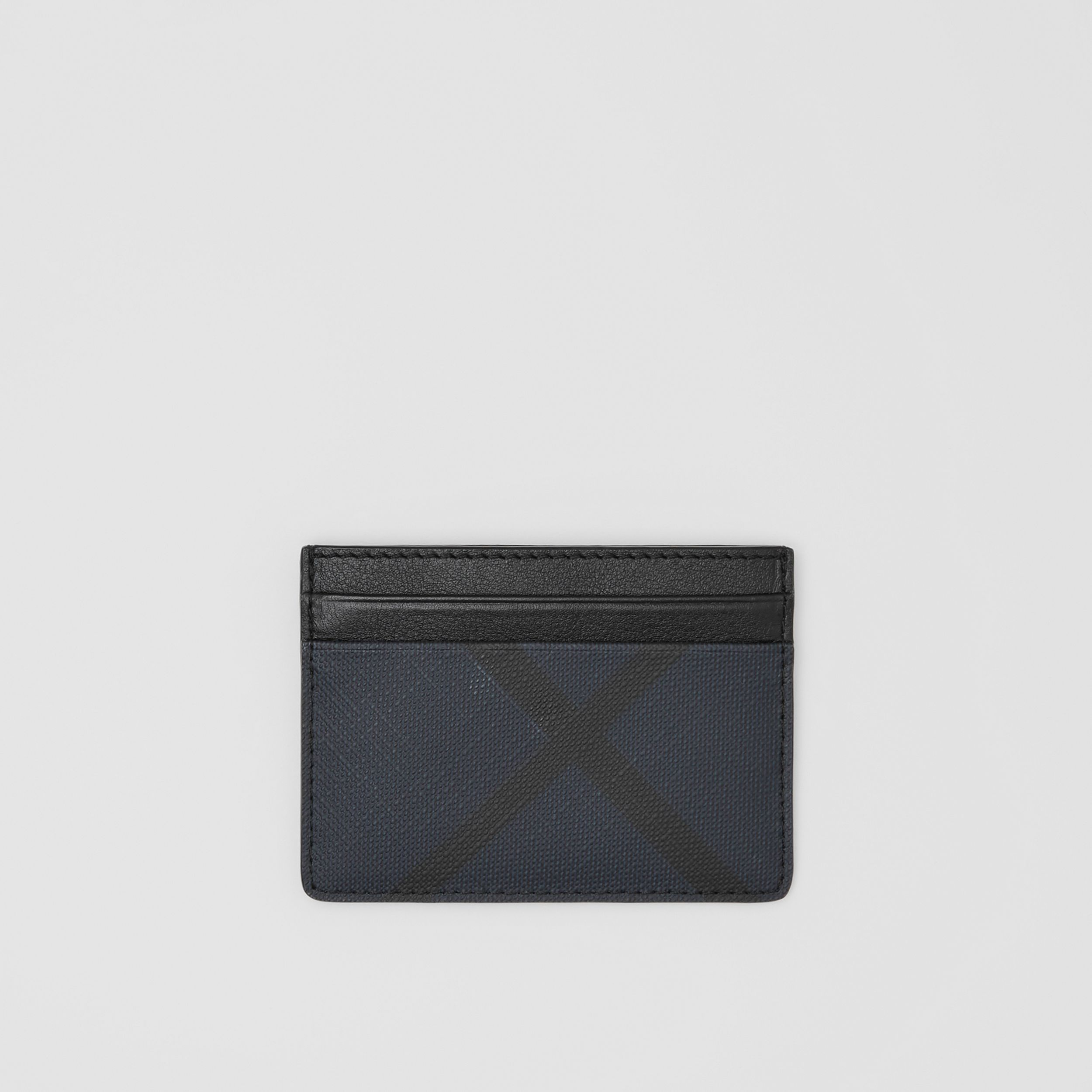 London Check and Leather Card Case in Navy - Men | Burberry Canada - 1
