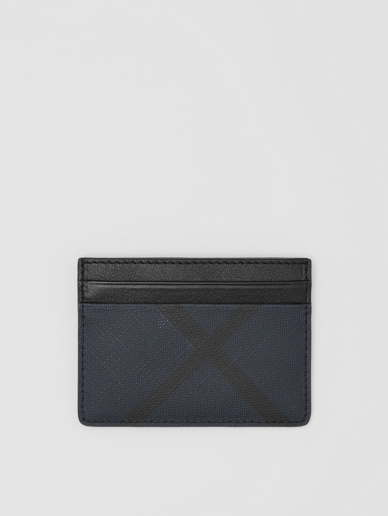 London Check and Leather Card Case in Navy