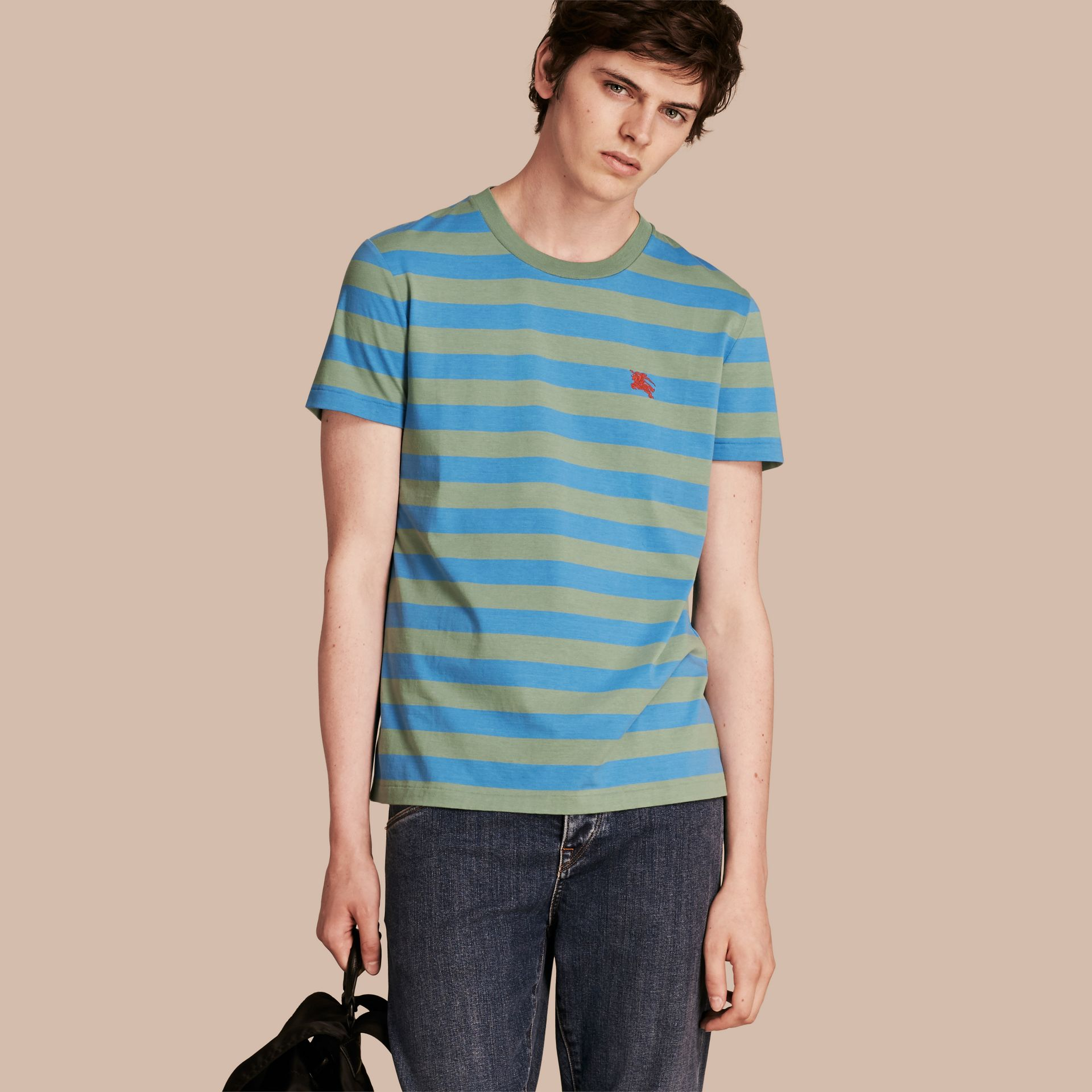 Striped Cotton T-Shirt Eucalyptus Green/chalk Blue - gallery image 1