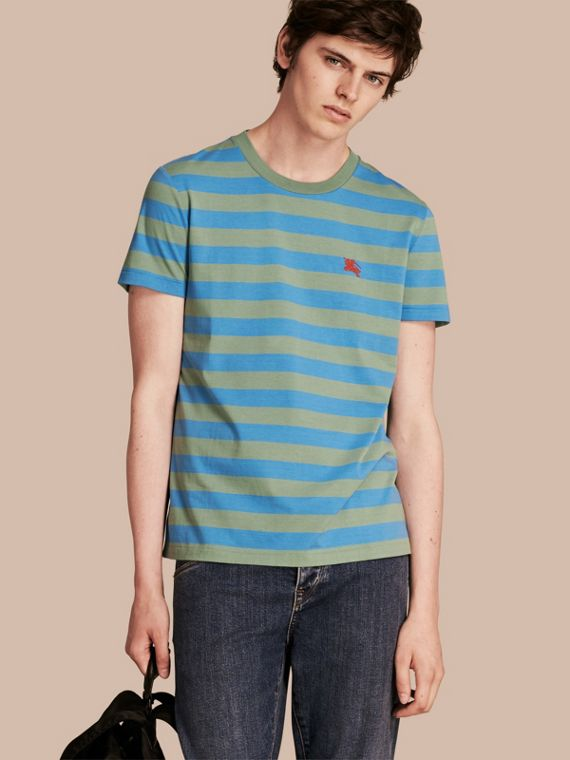 Striped Cotton T-Shirt Eucalyptus Green/chalk Blue