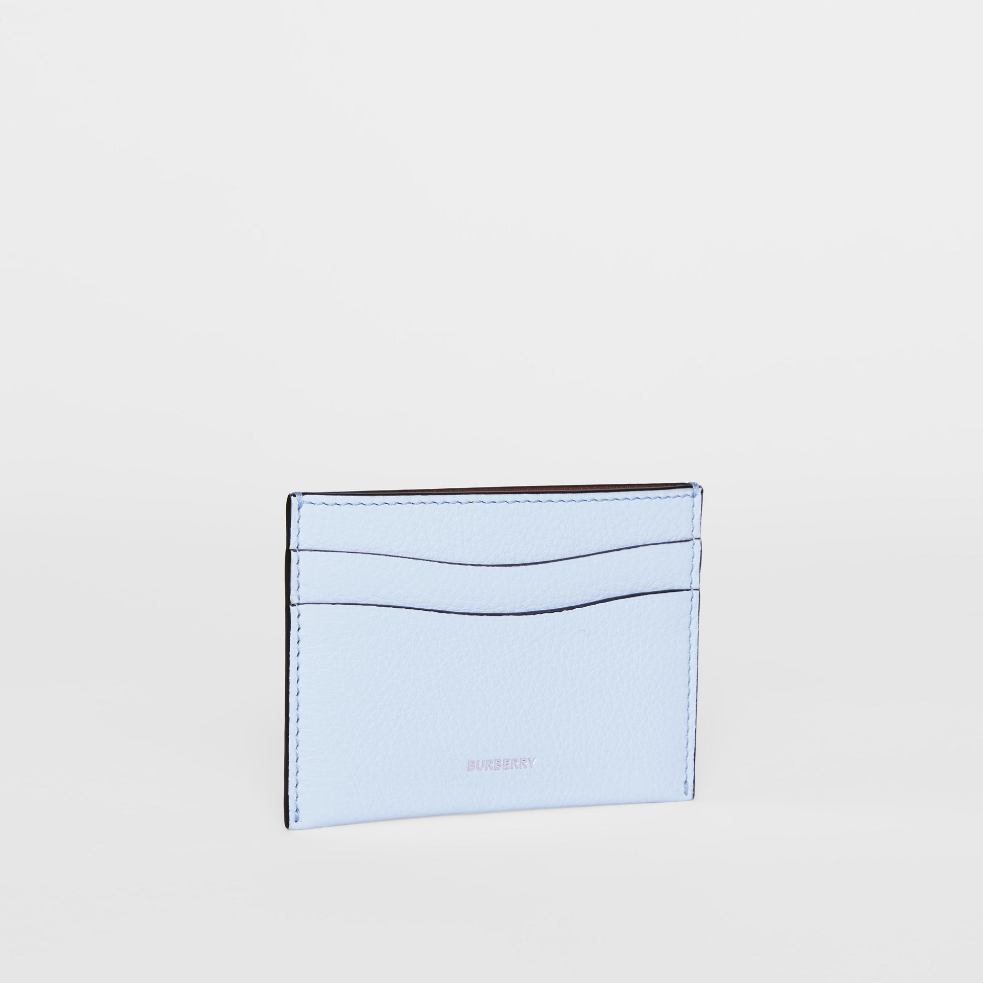 Grainy Leather Card Case in Pale Blue - Women | Burberry - gallery image 3