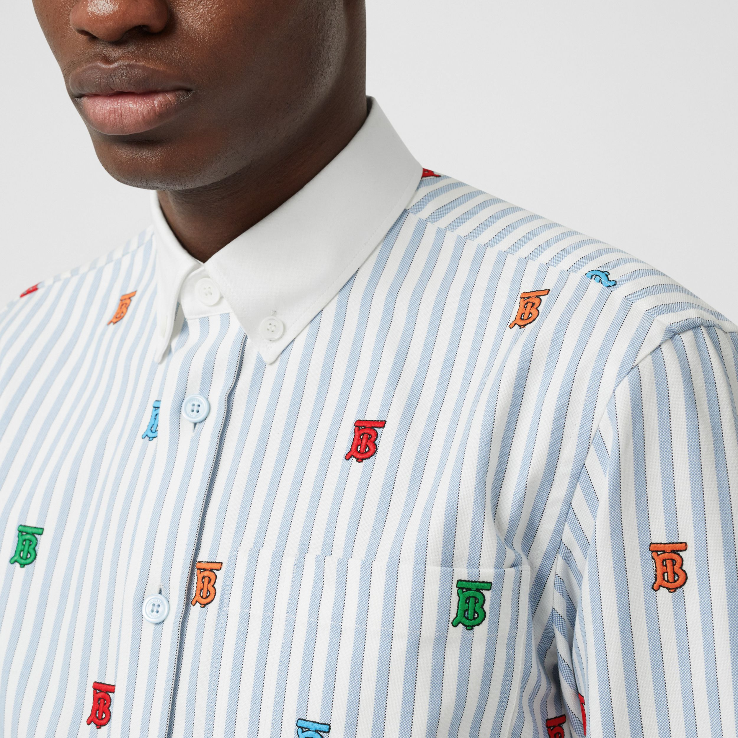 Monogram Motif Pinstriped Cotton Oxford Shirt in Mid Blue - Men | Burberry - 2