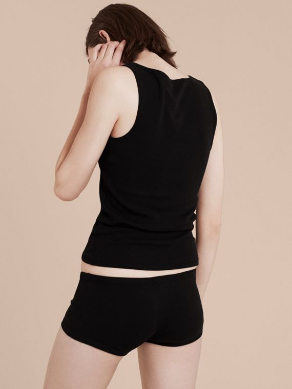 Black Stretch Cotton Lyocell Vest Black - cell image 2