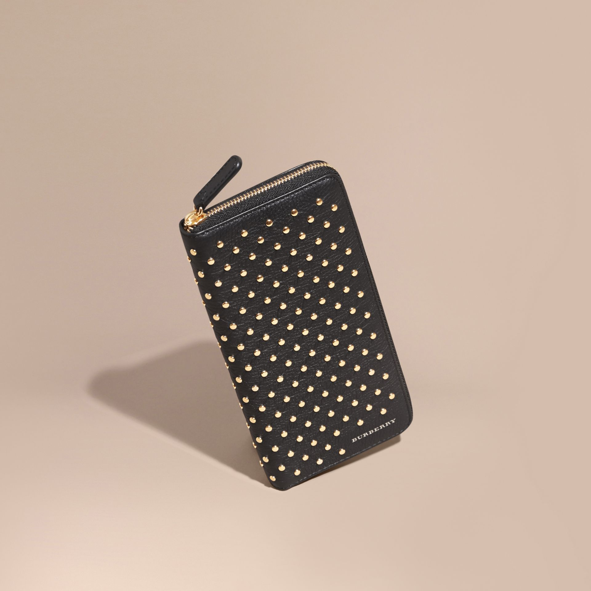 Black Studded Leather Ziparound Wallet - gallery image 1