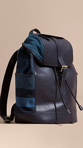 Leather and Overdyed Canvas Check Backpack