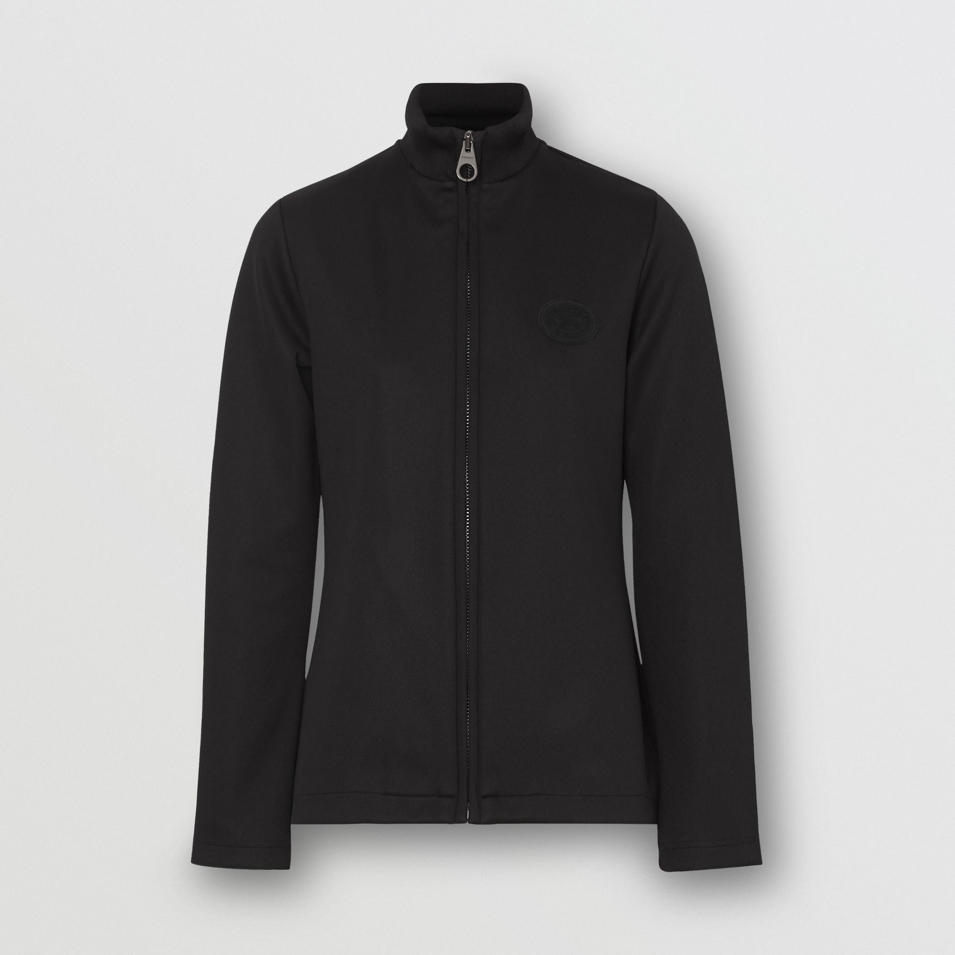 Crest Detail Funnel-neck Track Top in Black - Women | Burberry Australia - gallery image 3
