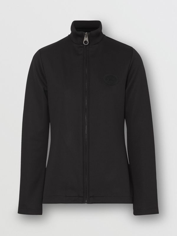 Crest Detail Funnel Neck Track Top in Black - Women | Burberry - cell image 3