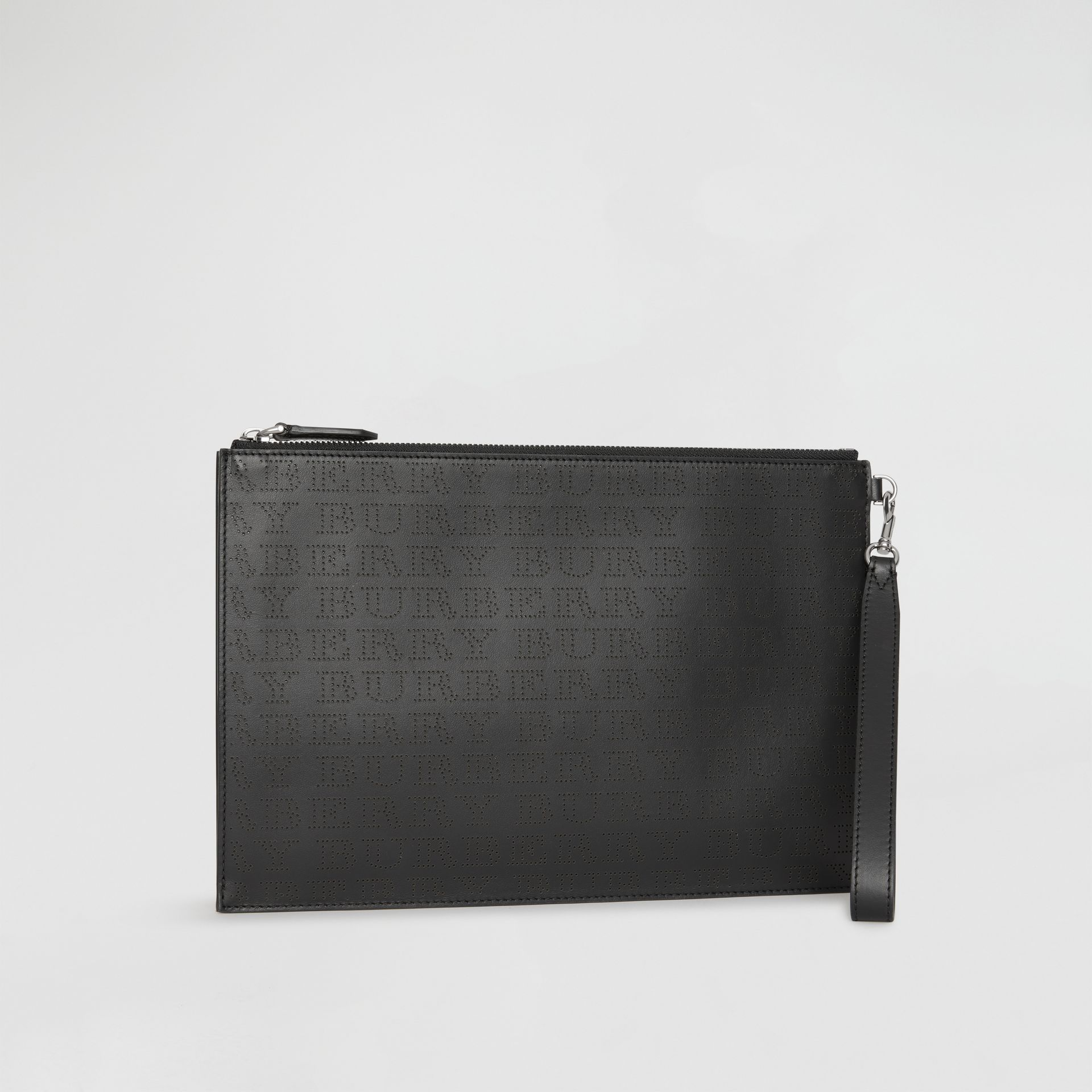 Perforated Logo Leather Zip Pouch in Black | Burberry Singapore - gallery image 4