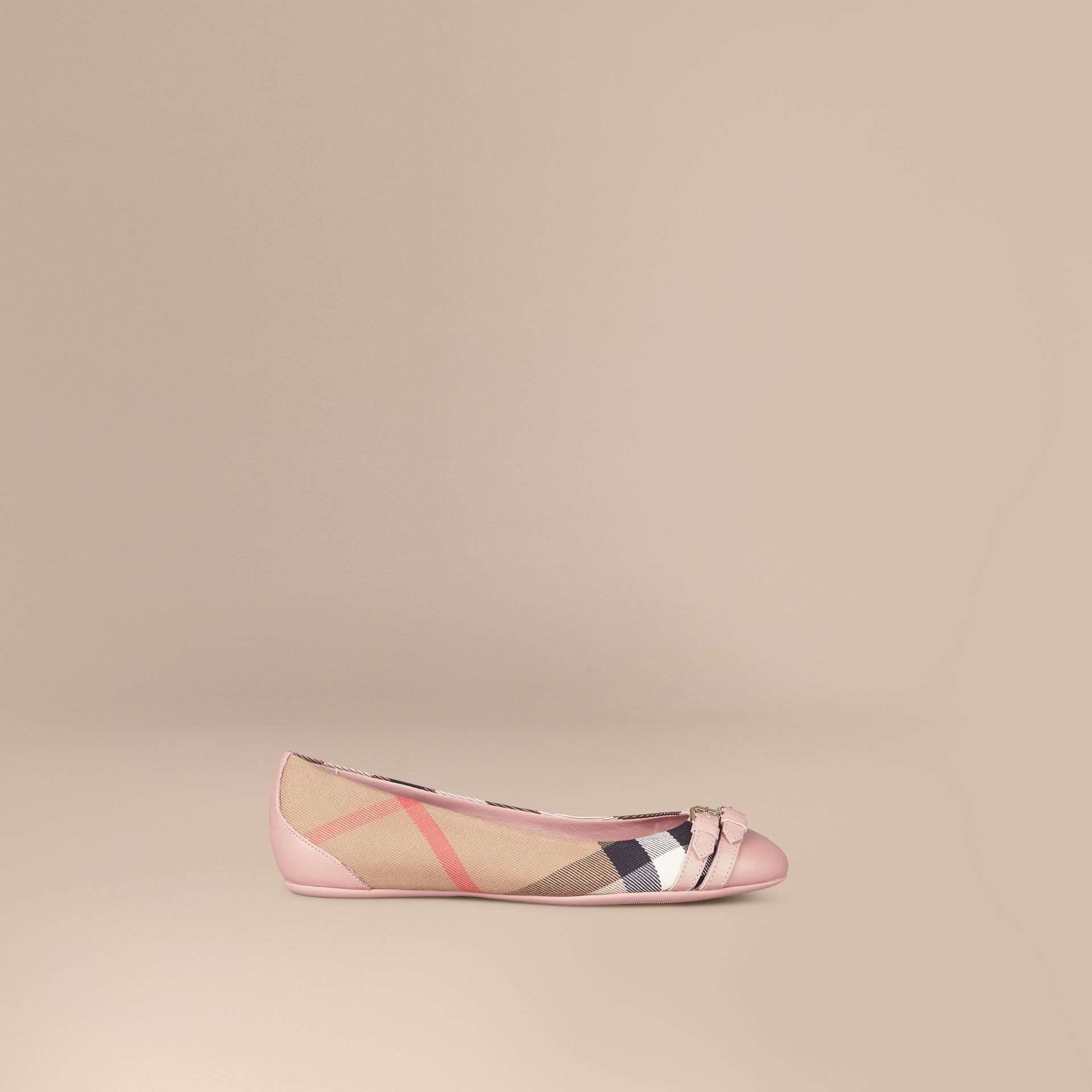 Belt Detail House Check Ballerinas in Nude Blush - Women | Burberry - gallery image 0