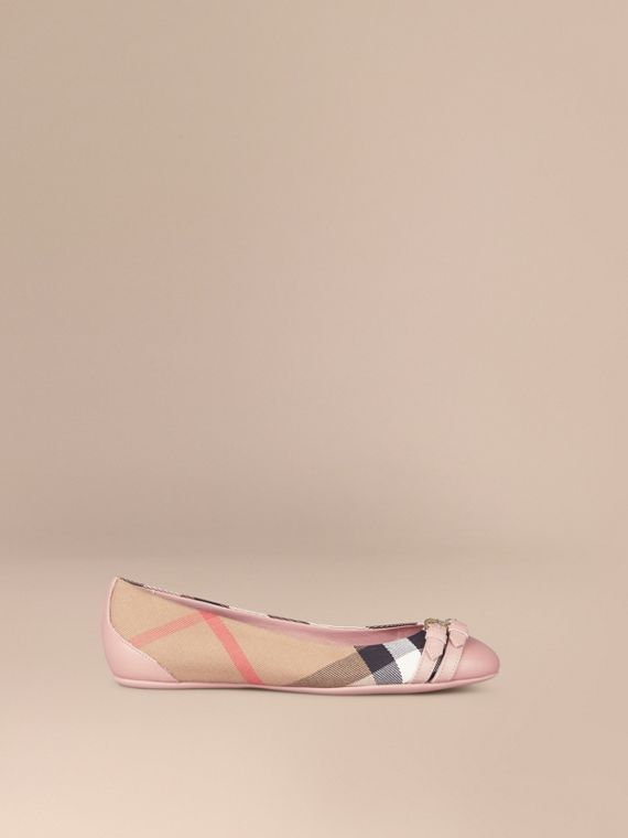 Belt Detail House Check Ballerinas in Nude Blush