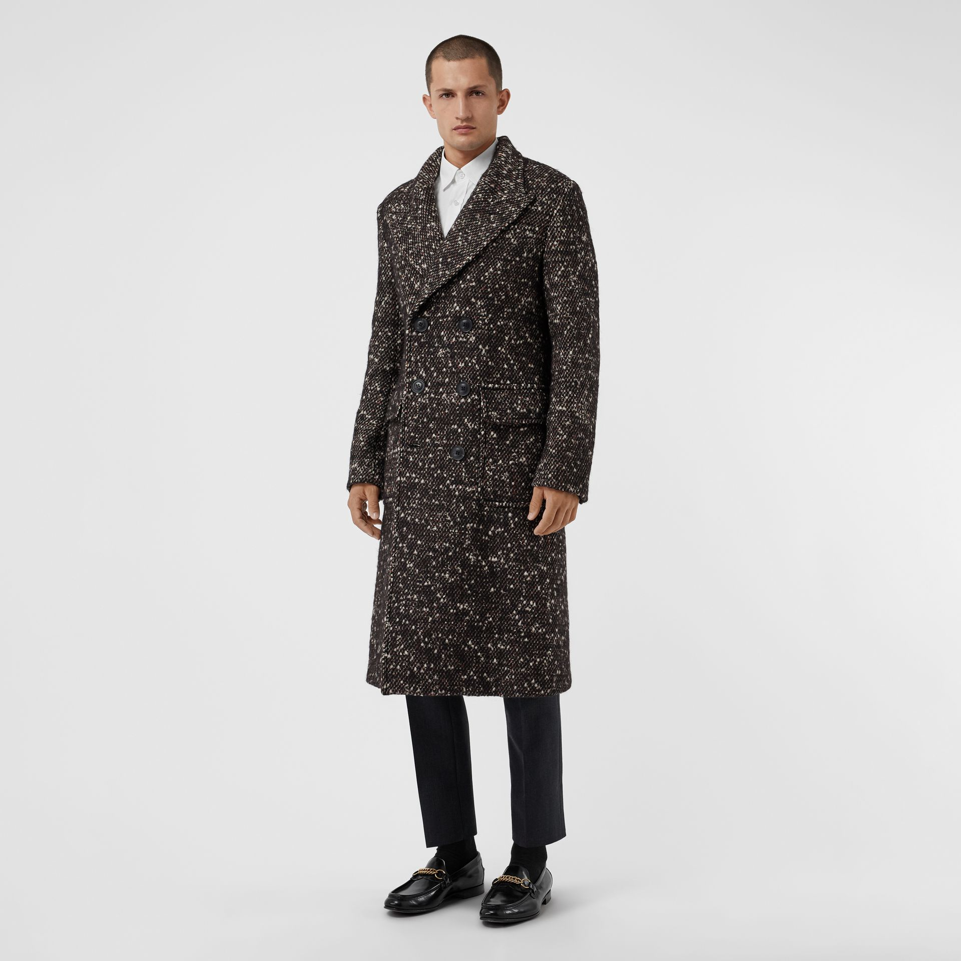 Wool Mohair Blend Tweed Tailored Coat in Black - Men | Burberry - gallery image 5