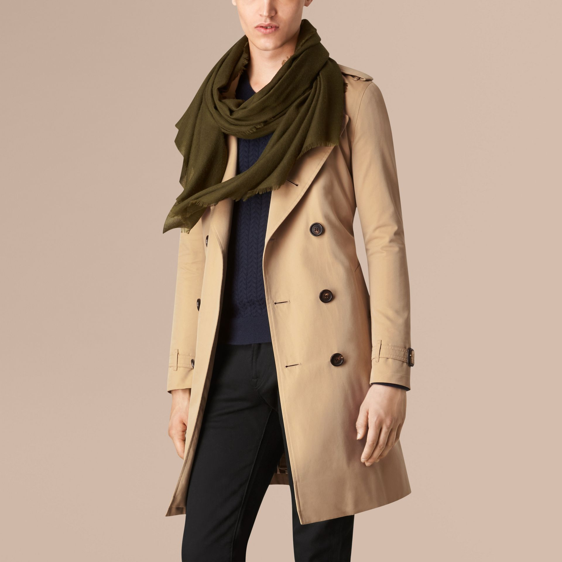 Olive green The Lightweight Cashmere Scarf Olive Green - gallery image 4