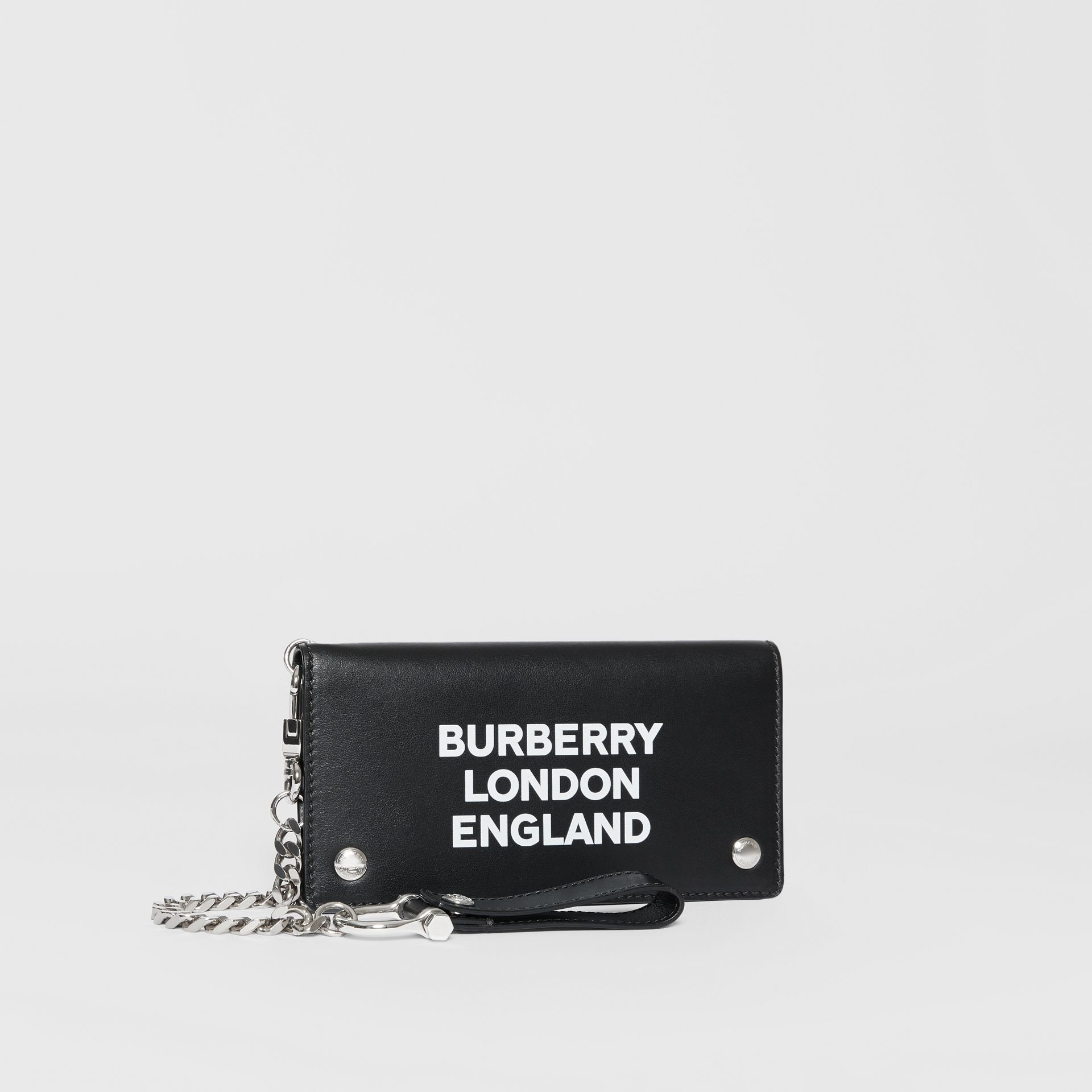 Logo Print Leather Wallet with Detachable Strap in Black - Men | Burberry Canada - gallery image 3
