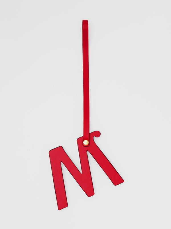 'M' Studded Leather Alphabet Charm in Red/light Gold - Women | Burberry Hong Kong S.A.R - cell image 2