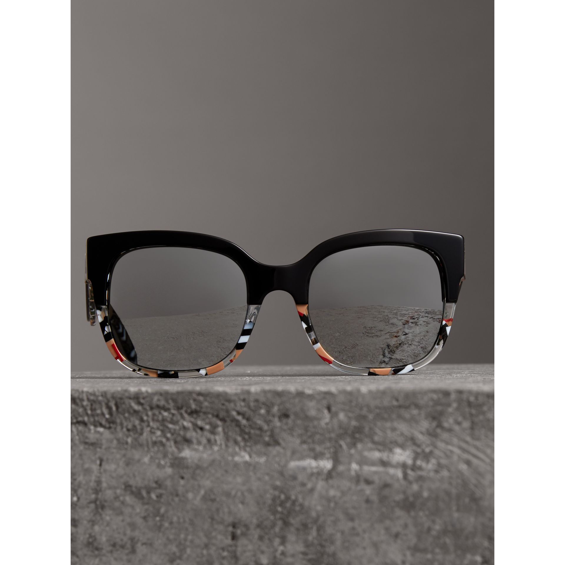 Patchwork Check Oversize Square Frame Sunglasses in Black - Women | Burberry United Kingdom - gallery image 3