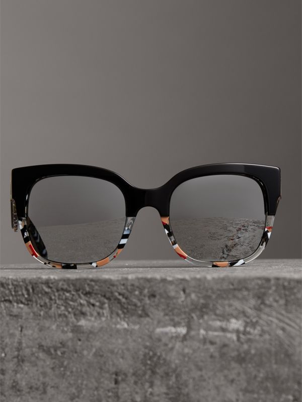 Patchwork Check Oversize Square Frame Sunglasses in Black - Women | Burberry United Kingdom - cell image 3