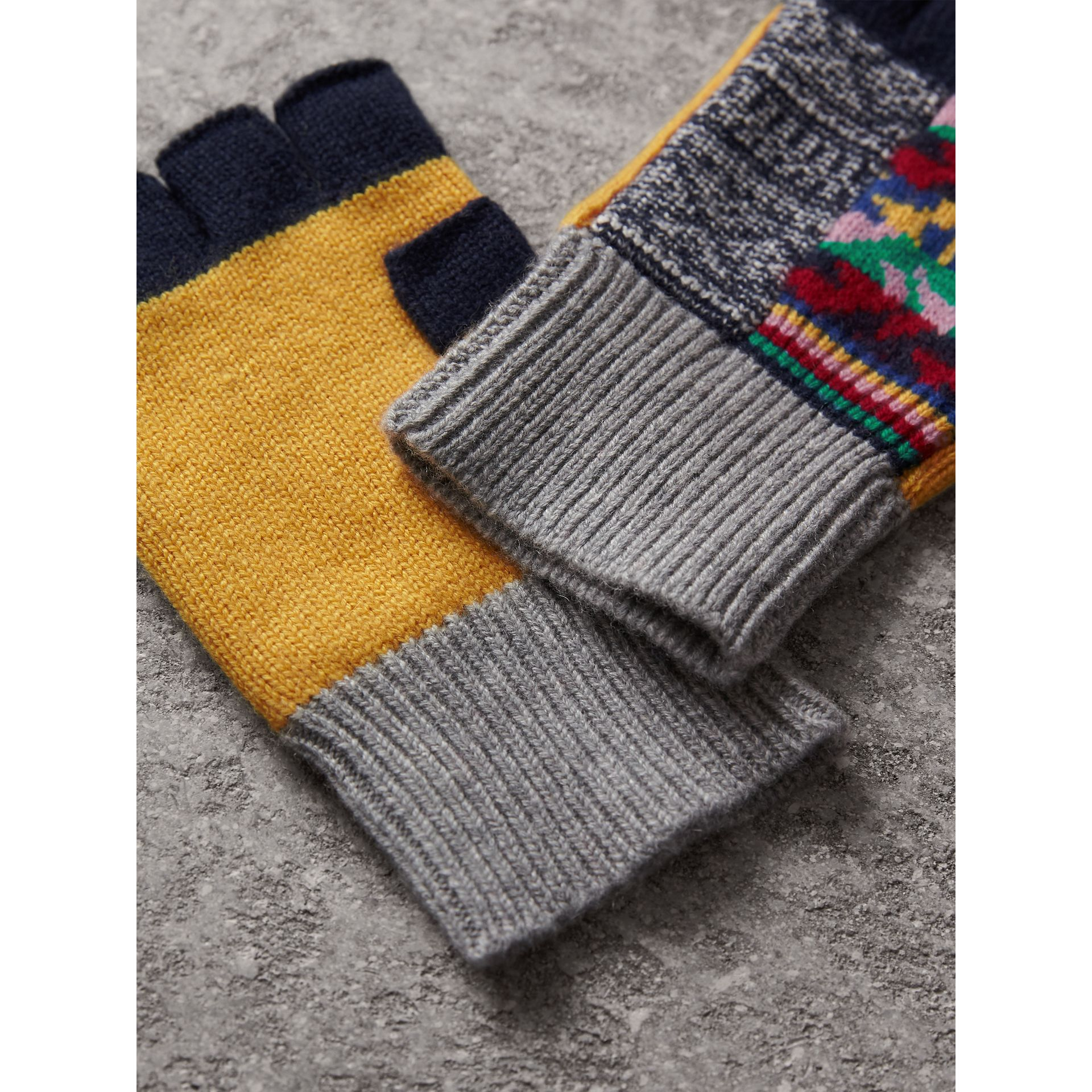 Cashmere Wool Fingerless Patchwork Gloves in Yellow | Burberry - gallery image 3