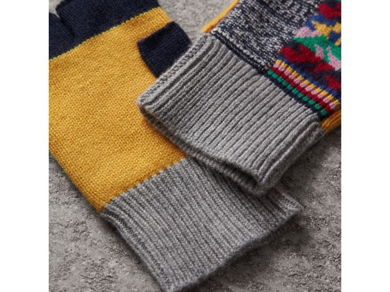 Cashmere Wool Fingerless Patchwork Gloves in Yellow | Burberry - cell image 2