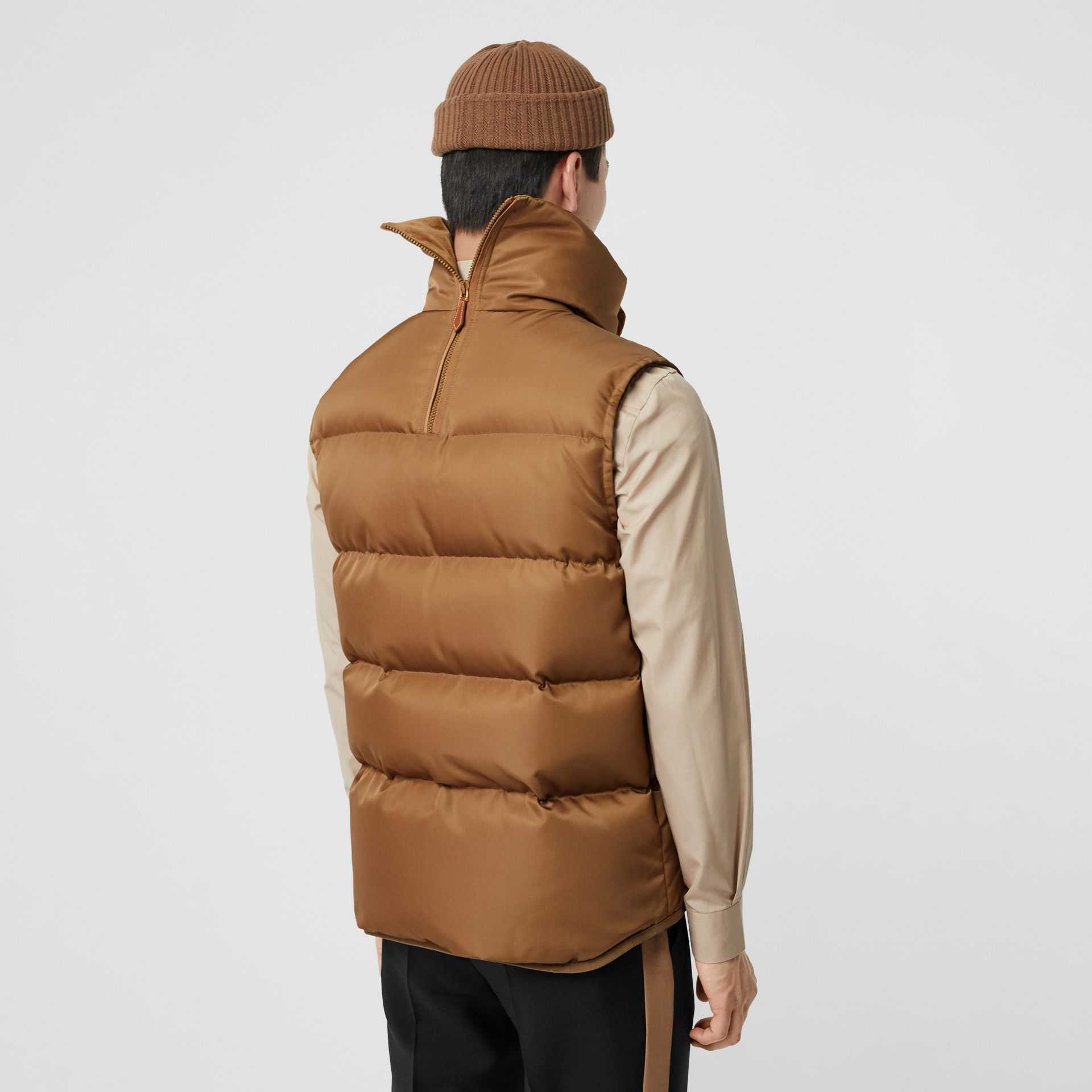Velvet Trim Down-filled Nylon Puffer Gilet in Warm Walnut - Men | Burberry - gallery image 2