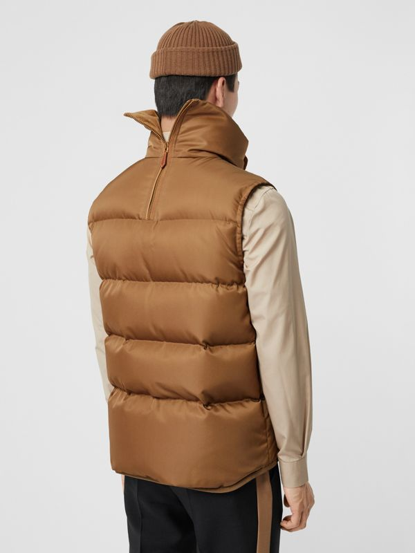 Velvet Trim Down-filled Nylon Puffer Gilet in Warm Walnut - Men | Burberry - cell image 2