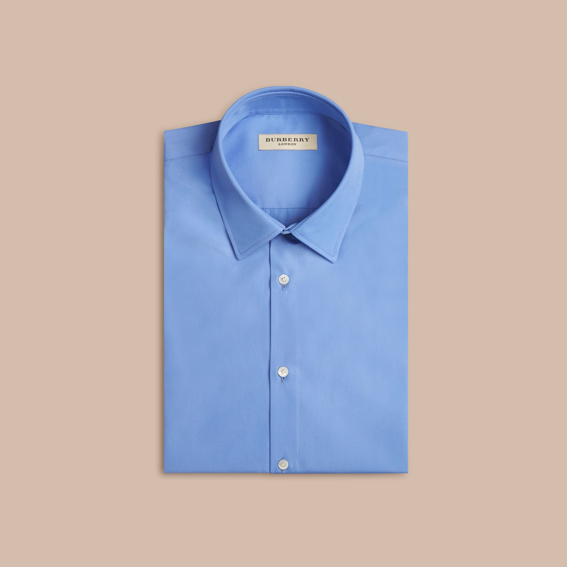 Mid blue Modern Fit Short-sleeved Cotton Poplin Shirt Mid Blue - gallery image 4