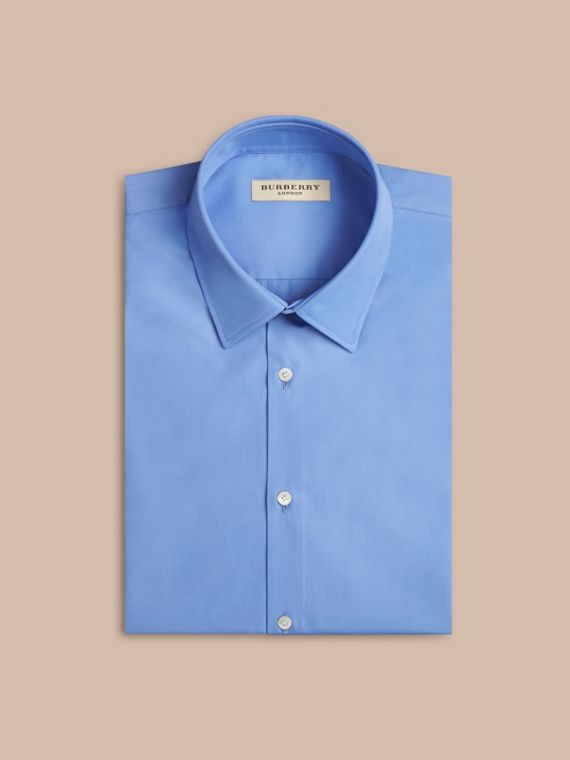 Modern Fit Short-sleeved Cotton Poplin Shirt Mid Blue