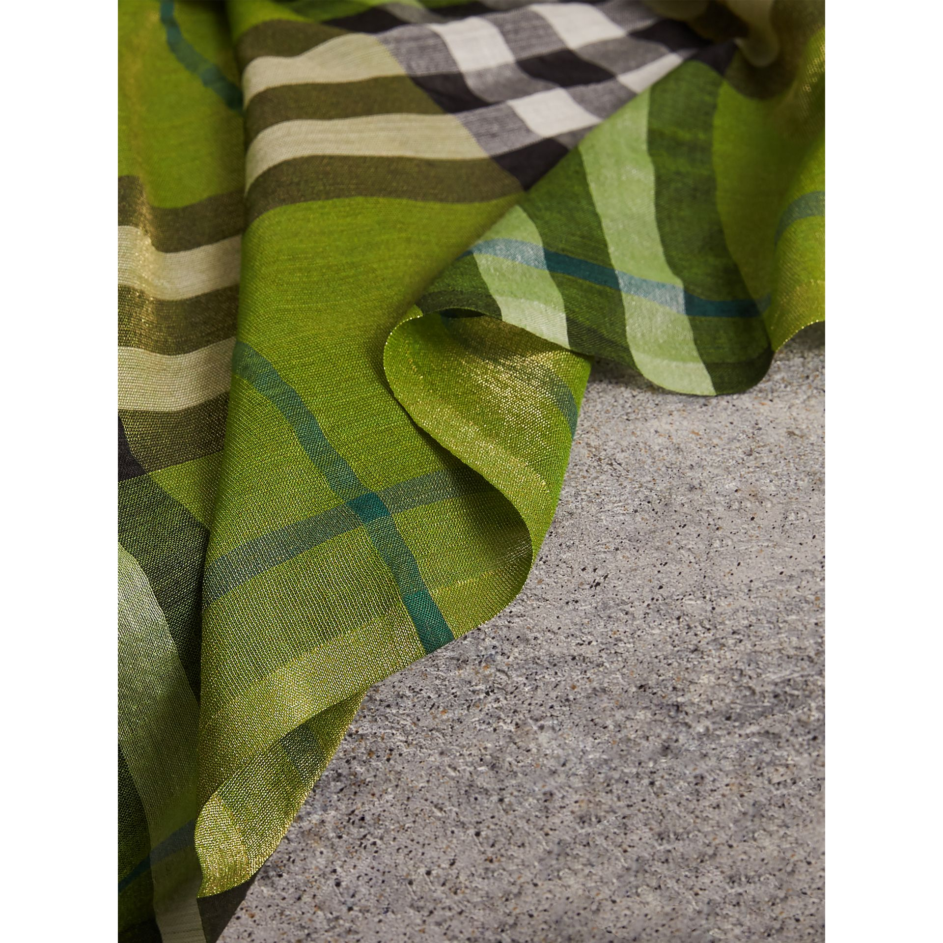 Metallic Check Silk and Wool Scarf in Bright Emerald | Burberry Australia - gallery image 2