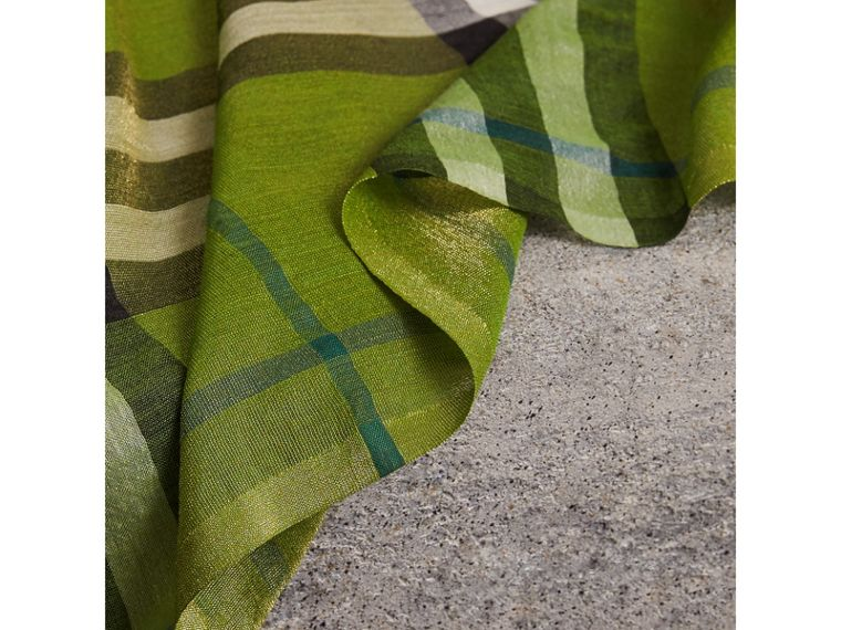 Metallic Check Silk and Wool Scarf in Bright Emerald | Burberry - cell image 1