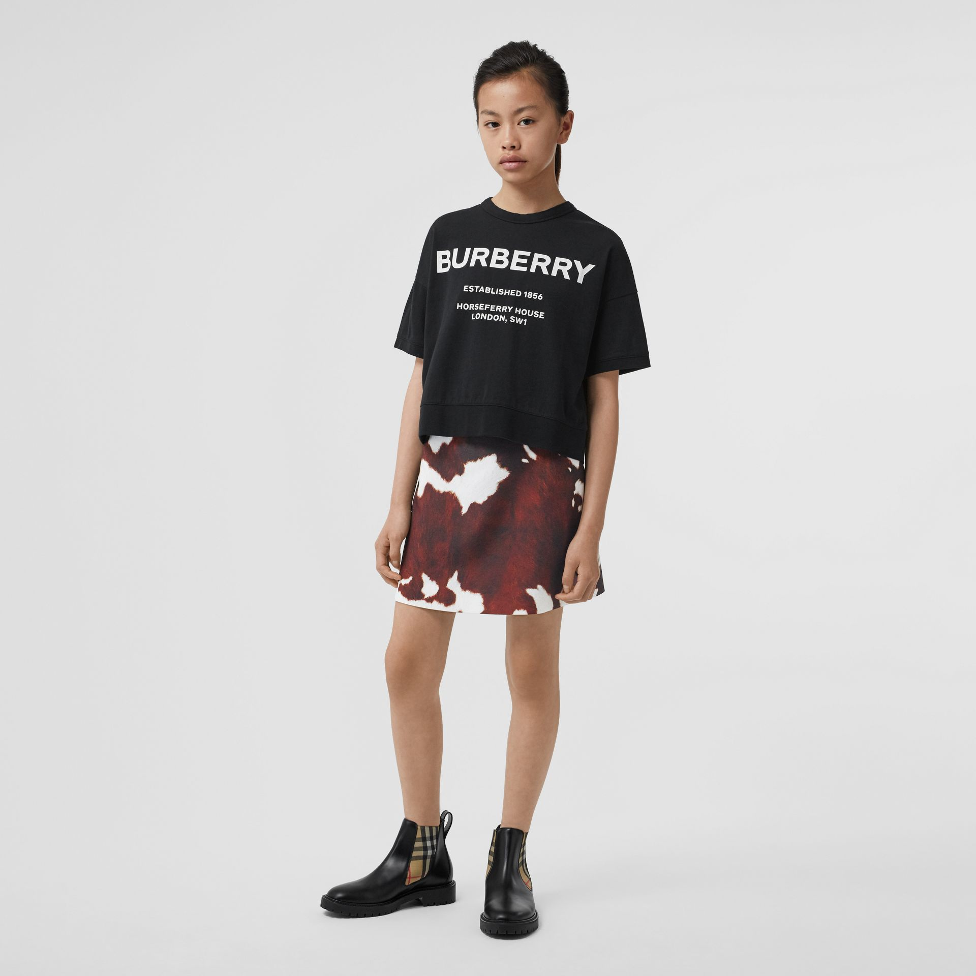 Horseferry Print Cotton T-shirt in Black | Burberry Hong Kong S.A.R - gallery image 2