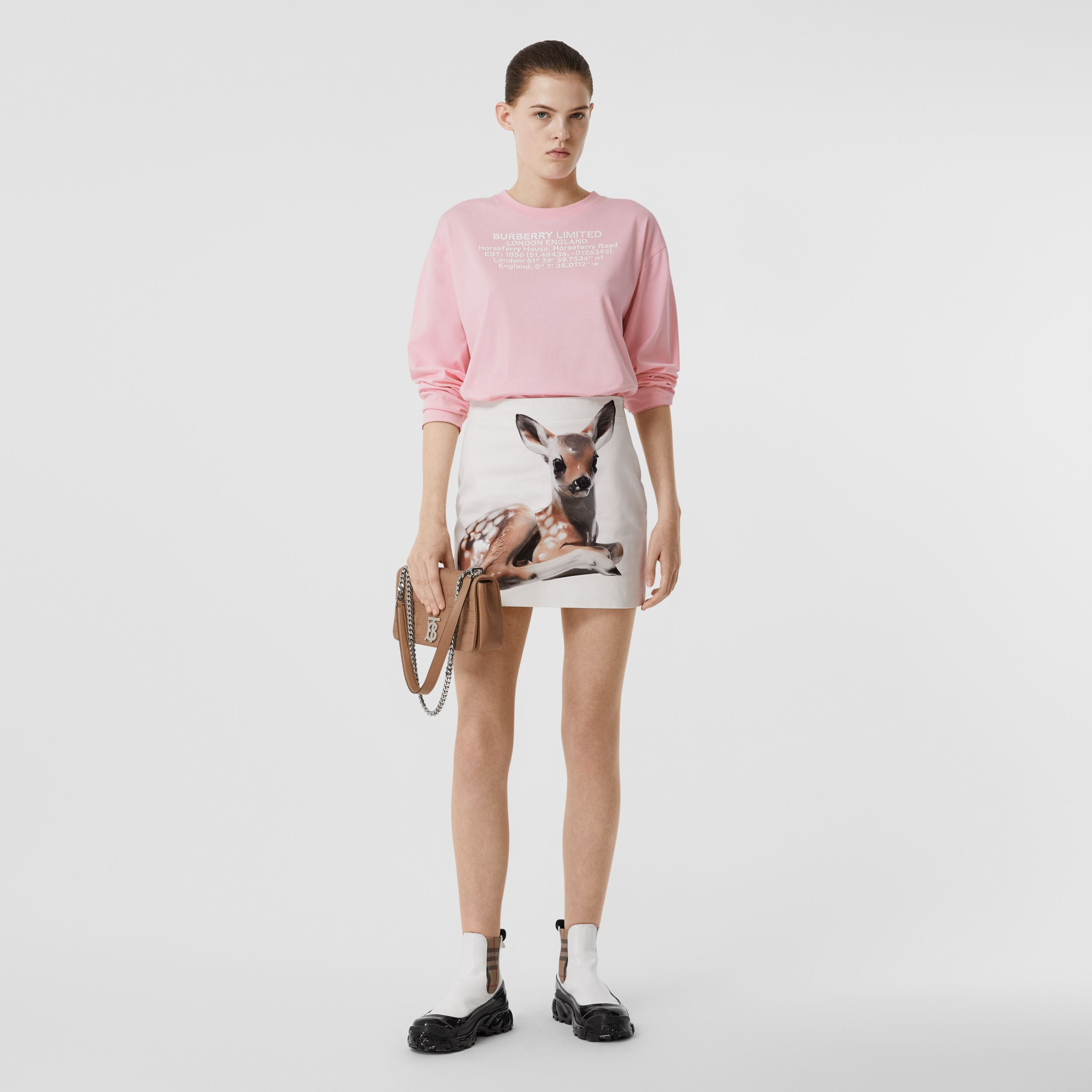 Long-sleeve Location Print Cotton Oversized Top in Candy Pink - Women | Burberry United Kingdom - 1
