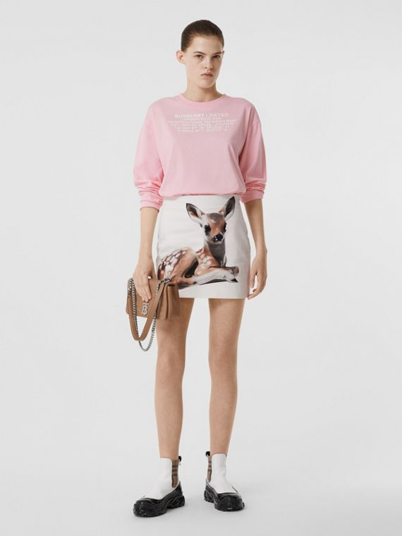 Long-sleeve Location Print Cotton Oversized Top in Candy Pink