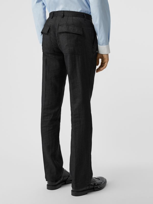 Zip Detail Linen Blend Pleated Trousers in Black - Men | Burberry United Kingdom - cell image 2