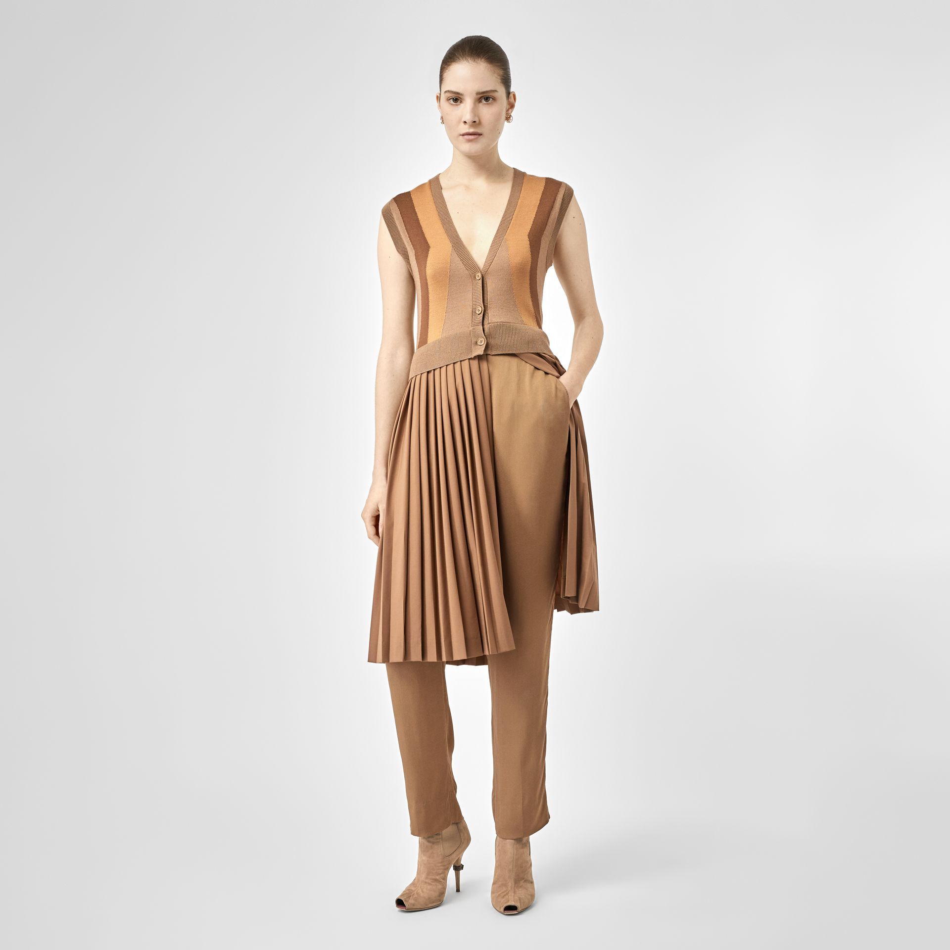 Satin Stripe Crepe Tailored Trousers in Driftwood - Women | Burberry United States - gallery image 4