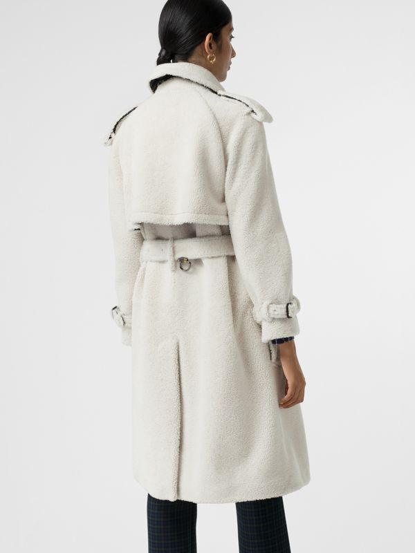 Tartan-lined Shearling Trench Coat in Off White - Women | Burberry - cell image 2
