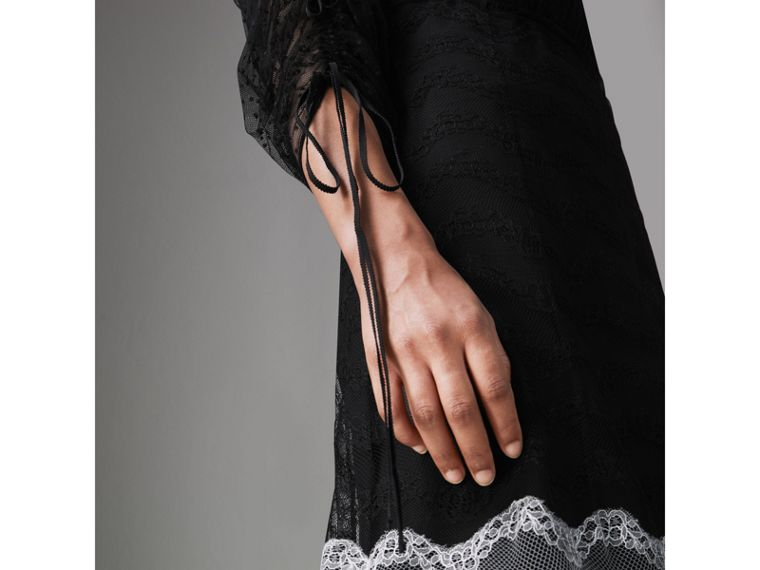 Gathered-sleeve Geometric Lace Dress in Black - Women | Burberry - cell image 4
