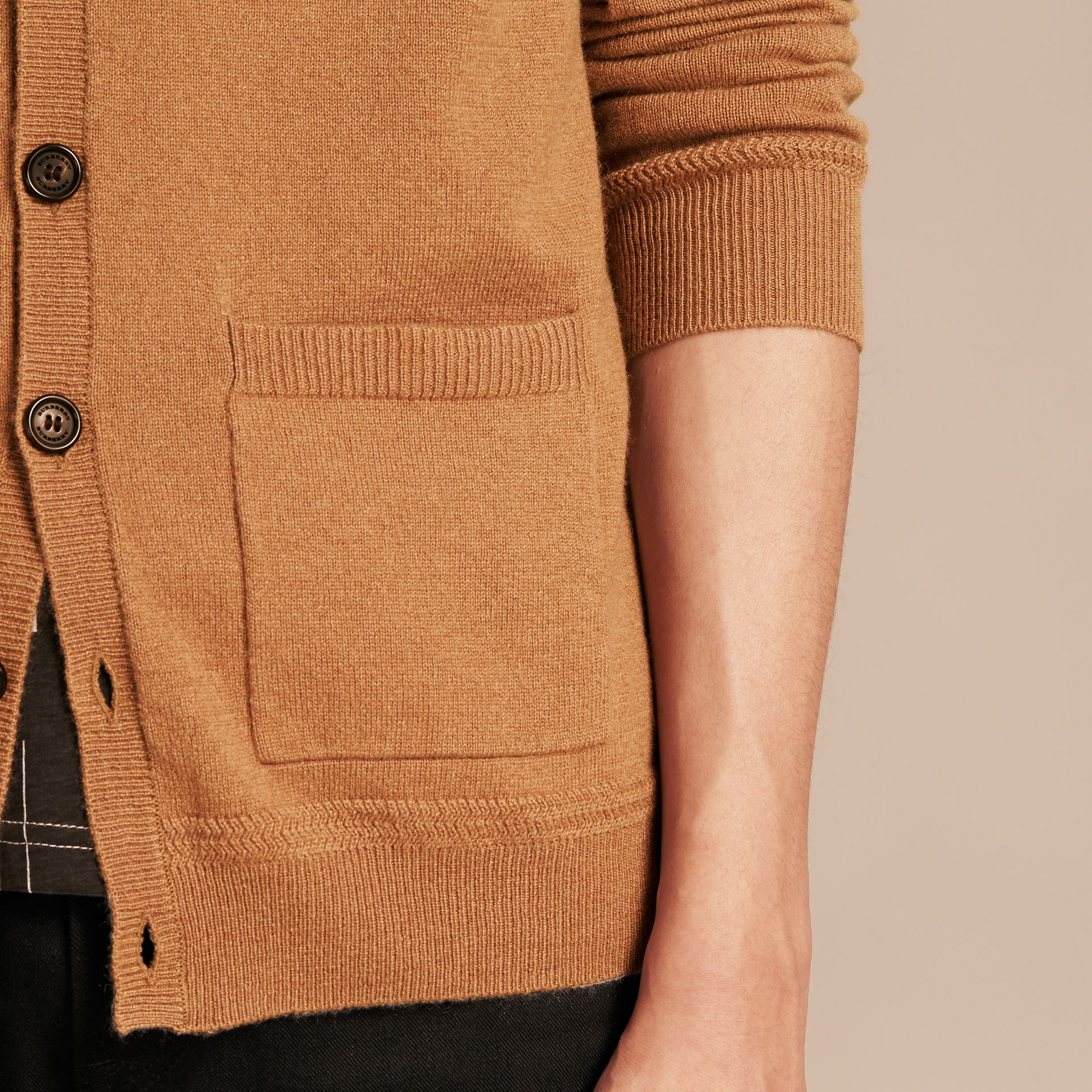 V-Neck Cashmere Cardigan in Mid Camel - gallery image 5