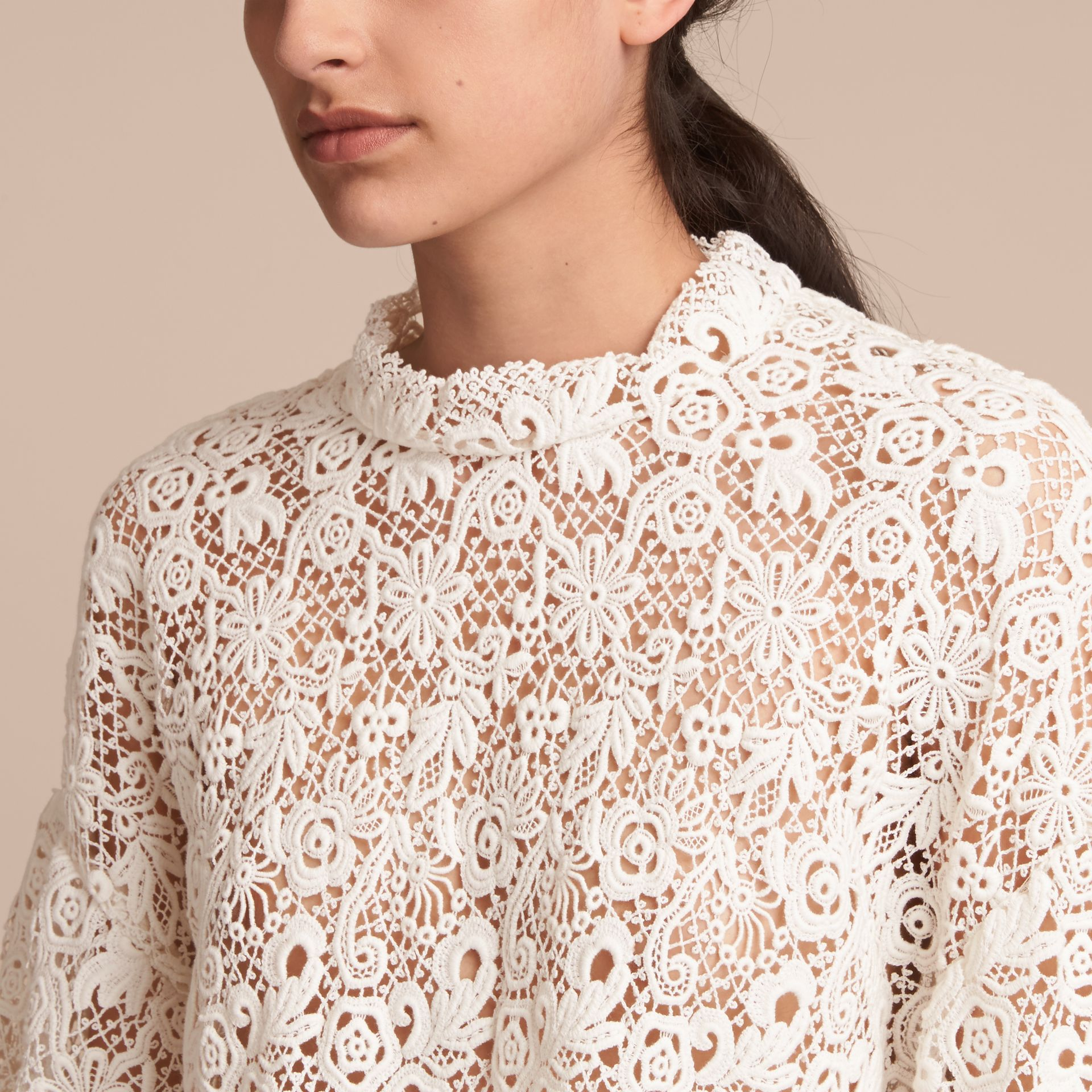 Ribbed Detail Voluminous Lace Top - Women | Burberry - gallery image 5